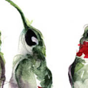 Three Little Hummers Art Print