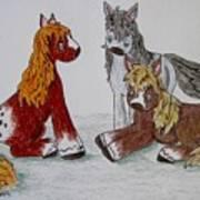Three Little Ponies Art Print
