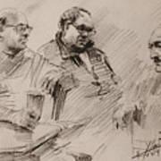 Three Men Chatting Art Print