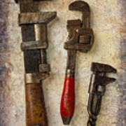 Three Old Worn Wrenches Art Print