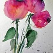 Three Pink Flowers 2 Art Print