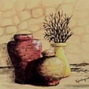 Three Pots And Twigs Art Print