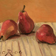 Three Red Pears Print by Raimonda Jatkeviciute-Kasparaviciene