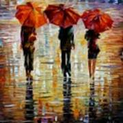 Three Red Umbrella Art Print