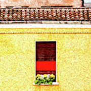 Three Red Windows With Flowers Of A Typically Italian House. Art Print