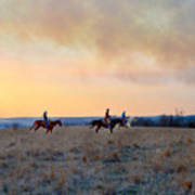 Three Riders In The Kansas Flint Hills Art Print