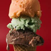 Three Scoop Ice Cream On Red Background Art Print