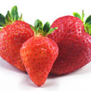 Three Strawberries Art Print