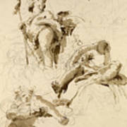 Three Studies Of The God Bacchus Art Print