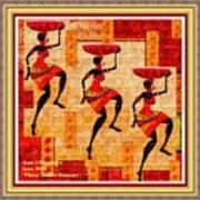 Three Tribal Dancers L A With Decorative Ornate Printed Frame. Art Print