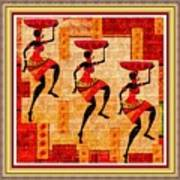 Three Tribal Dancers L B With Decorative Ornate Printed Frame Art Print