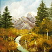 Thru The Aspens And Up The Mountain Art Print