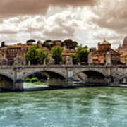 Tiber River, Ponte Sant'angelo And St. Peter's Cathedral, Roma, Italy Art Print