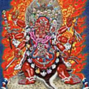 Tibetan Thangka  - Wrathful Deity Hayagriva Art Print