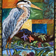 Tidepool Heron Art Print