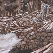 Tie Hack Historical Vignette From River Mural Art Print