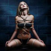 Tied In Rope Harness - Fine Art Of Bondag Art Print