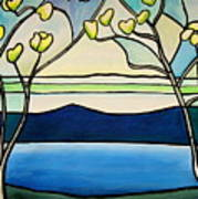 Tiffany And Blossoms Stained Glass Art Print