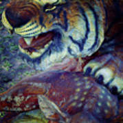 Tiger And Deer Art Print