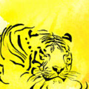 Tiger Animal Decorative Black And Yellow Poster 1 - By   Diana Van Art Print