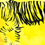 Tiger Animal Decorative Black And Yellow Poster 2 - By Diana Van Art Print