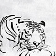 Tiger Animal Decorative Black And White Poster 1 - By  Diana Van Art Print