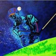 Tiger Woods-playing In The Sandbox Art Print by Bill Manson