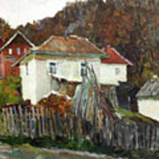 Time For Use The Stove. November In The Serbia. Art Print