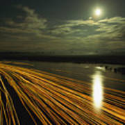Time Lapse Of Lights From Boats Moving Art Print