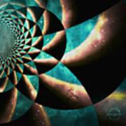 Time Travel Galaxy Portal To The Stars - Teal Green Art Print