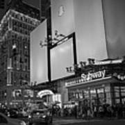 Times Square Subway Stop At Night New York Ny Black And White Art Print