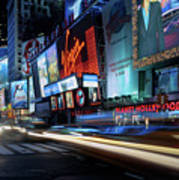 Times Square With Light Trail Art Print