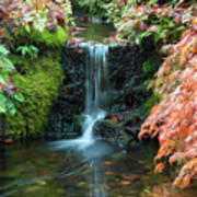 Tiny Waterfall In Japanese  Garden.the Butchart Gardens,victoria.canada. Art Print