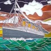 Titanics Last Sunset In Beautiful Stained Glass. Art Print