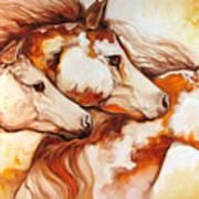 Tobiano Horse Trio Art Print