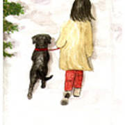 Together - Black Labrador And Woman Walking Art Print