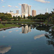 Tokyo Buildings And Garden Pond Art Print