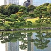 Tokyo Trees Reflection Art Print by Carol Groenen