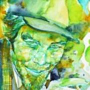 Tom Waits - Watercolor Portrait.5 Art Print