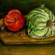 Tomato And Cabbage Oil Painting Canvas Art Print