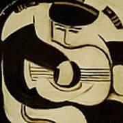 Sea captain playing guitar Art Print Art Print