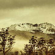 Toned View Of A Snowy Mount Gell, Tasmania Art Print