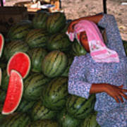 Too Hot To Sell Watermelons Art Print