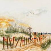 Topless Beach Art Print
