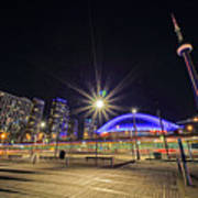 Toronto Harbourfront Street Car Light Trails Art Print