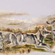 Totem Wolf Sunset Art Print