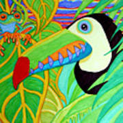 Toucan And Red Eyed Tree Frog Art Print