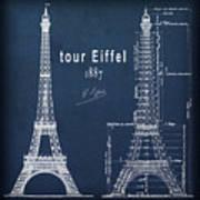 Tour Eiffel Engineering Blueprint Art Print
