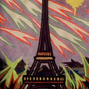 Tour Eiffel Et Ovni Art Print