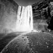 Tourists And Double Rainbow At Skogafoss Waterfall In Iceland Art Print